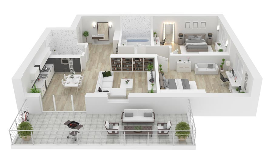 Rendering appartamento ristrutturato a Milano
